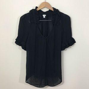 Anthro Odille Black Tie Neck Short Sleeve Blouse